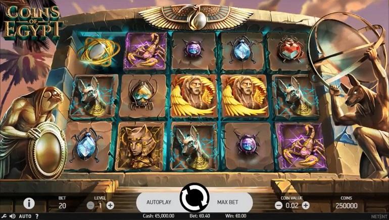 NetEnt Coins of Egypt lošimų automatas jau veikia