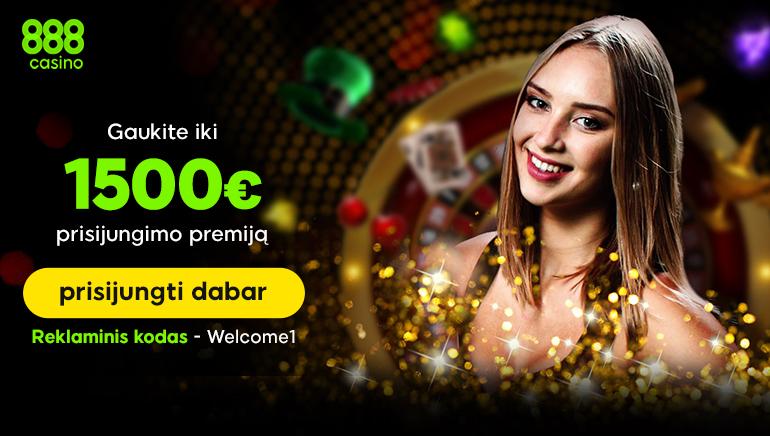 Gaukite puikų pasveikinimo bonusą 888 kazino, kurio vertė €1500!